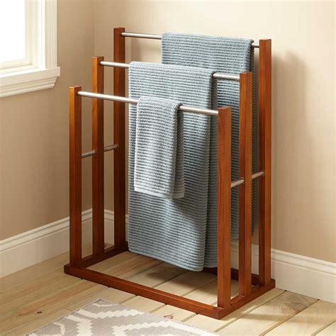 shelf with hanger bar teak towel hanger with 3 tiers bathroom