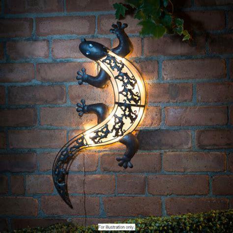 solar powered bright led light gecko metal garden decoration wall 1 spinner ebay
