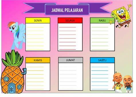 template jadwal pelajaran sekolah unik keren  menarik