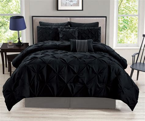8 piece rochelle pinched pleat black comforter set sm
