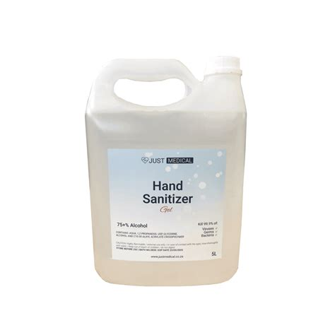 5L Gel Hand Sanitizer 75% Alcohol (Clear Waterless