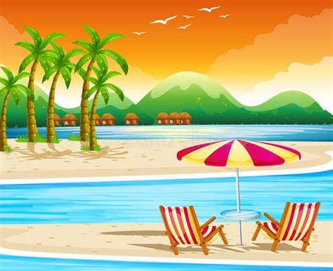 Beach Scene With Chairs And Umbrella Stock Vector