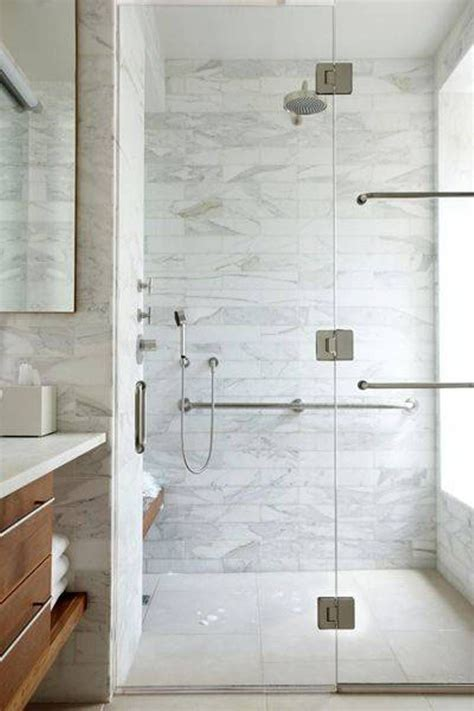 Bathroom , Bathroom Marble Tile In Shower Walls : Walk In