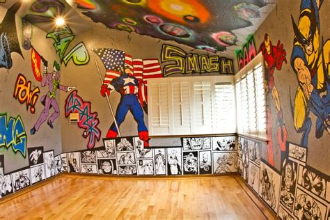 Superhero Room. Graffiti Walls With Marvel And Dc
