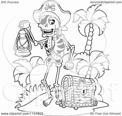 Pirate Treasure Skeleton Chest Beach Carrying Lamp