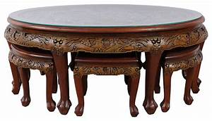 Consigned Chinese Antique Teak Wood Massive Carved Coffee