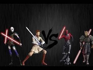 Star Wars the Clone Wars Obi Wan Kenobi & Asajj Ventress ...