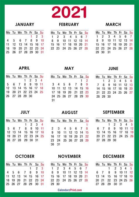 calendar  paper size printable  green
