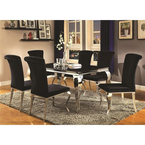 coaster carone contemporary glam dining room set with