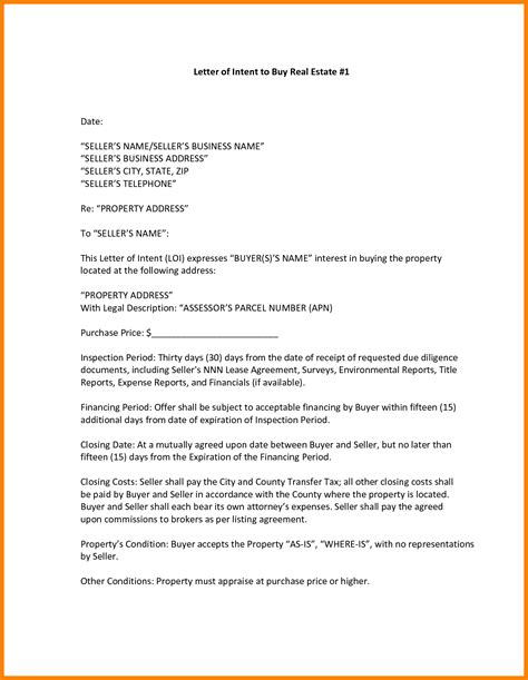 letter  intent  purchase real estate template examples