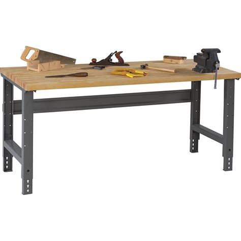 butcher block tops tennsco adjustable workbench wood top 60in w x 30in d