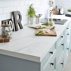 Protege Plan De Travail : plan de travail stratifi effet marbre blanc x ~ Premium-room.com Idées de Décoration