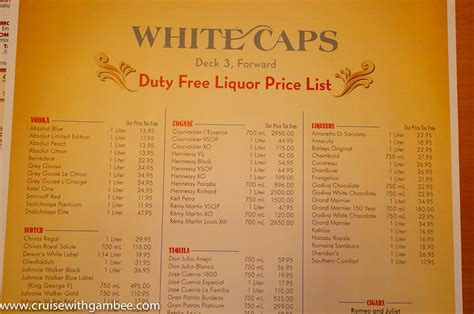 disney cruise drink lists  prices cruise  gambee