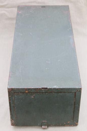 vintage industrial steel file card catalog machine age