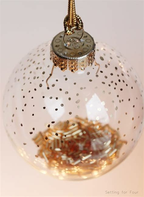 minute diy gold dot christmas ornament setting