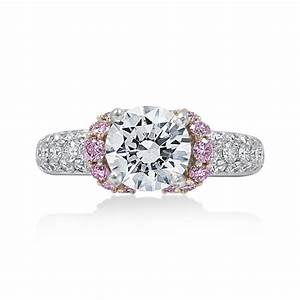 Jack kelege diamond engagement ring with pink diamond for Pink diamond wedding rings