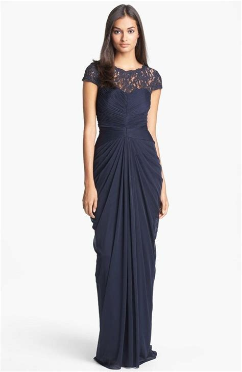 papell draped gown papell lace yoke drape mesh gown ink navy