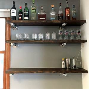 Diy, Floating, Pipe, Shelves, With, Step