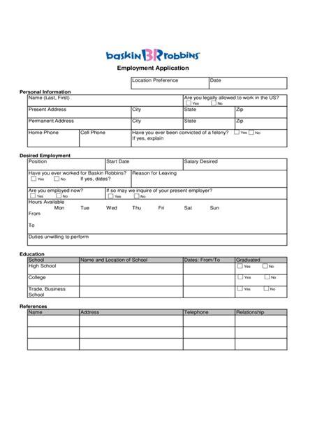 baskin robbins employment application form