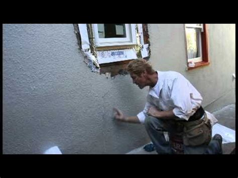 break stucco repair newly installed window timelapse youtube