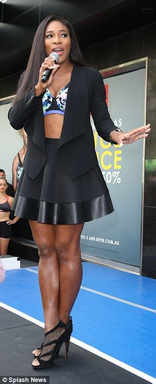 serena williams displays washboard stomach  berlei bra