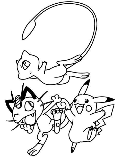 Kleurplaat Mew by Paradijs Kleurplaat Mew Meowth En Pikachu