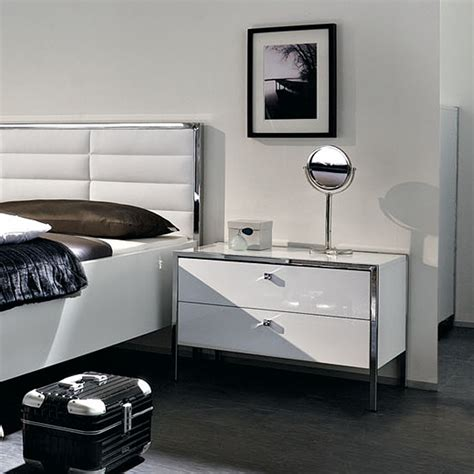 Wide White Nightstand by Trenta Nightstand Wide White The Collection Touch