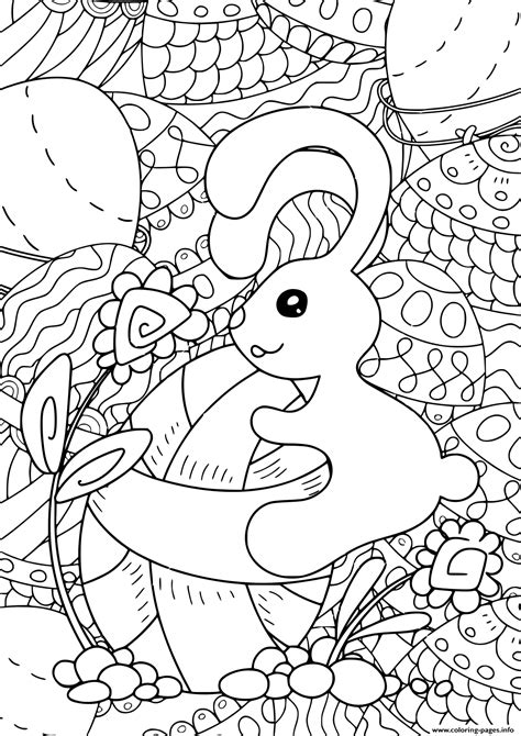 rabbit easter  adult  children antistress coloring pages printable
