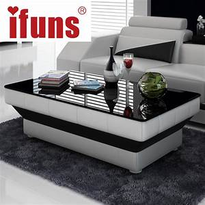 ifuns new design special coffee table tea for living room With black and glass living room furniture