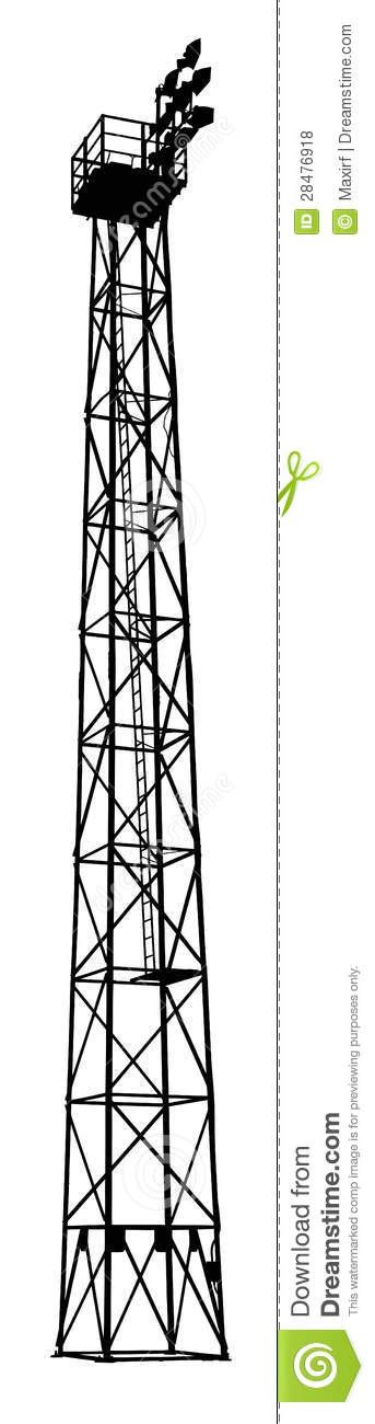 sports field flood light tower silhouette royalty