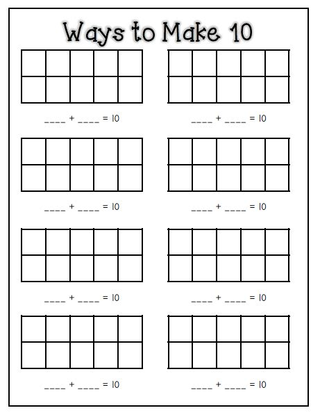 Make 10 Math Worksheets  Math Stations Making 10 And On