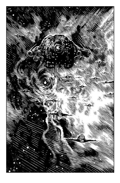 danhenk:the-9th-of-9-illustrations-for-novel-the-black-seas-of-infinity-detailing-one-of-the