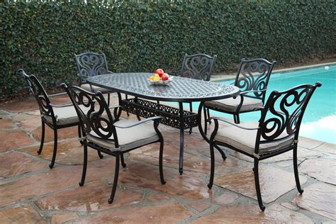 7 dining set with bench cbm outdoor cast aluminum 7 dining set g with