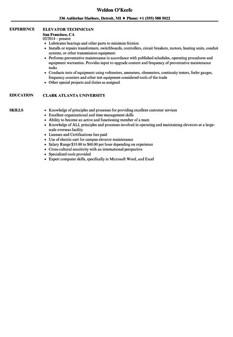 Elevator Technician Resume Samples | Velvet Jobs