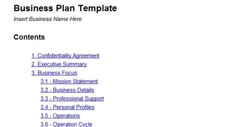 Free Printable Business Plan Template Form (generic