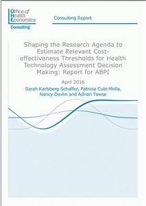 Shaping Research Agenda to Estimate Cost-effectiveness ...