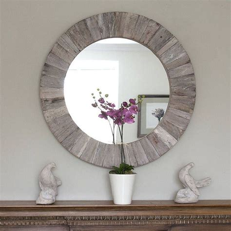 Round silver mirror with iron chain for wall decor diameter circle 11.5 inch wall hang frame less mirror small handicraft art. 20+ DIY Round Mirror Frame Designs Made Of Wood | Round wooden mirror, Diy round mirror, Rustic ...