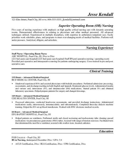 resume exle or operating room resume free sle nursing misc nursing