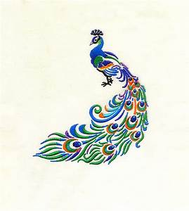 Subtle, And, Vibrant, Peacock, Embroidery, Design