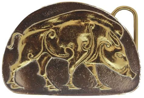 24k Gold And Silver Plated Celtic Wild Boar Belt Buckle