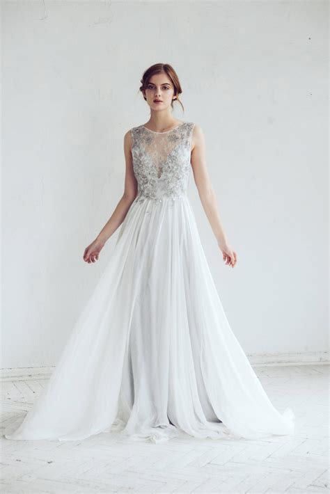 silver gray wedding dress chic vintage brides chic