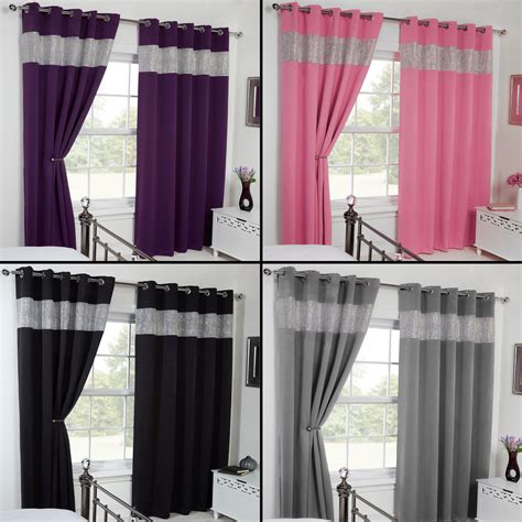 black and pink curtains thermal blackout diamante eyelet ring top pair of curtains