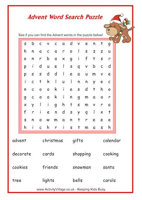 free printable advent word search explore puzzles word