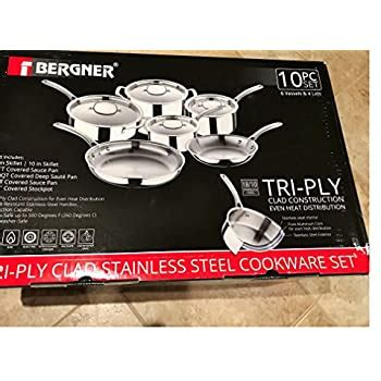 amazoncom bergner tri ply clad stainless steel cookware  pc set kitchen dining