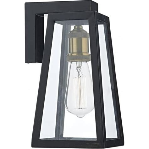 black indoor or outdoor wall light fitting with clear
