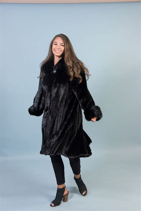 mink trumpet bottom swing coat female pelts king fine furs