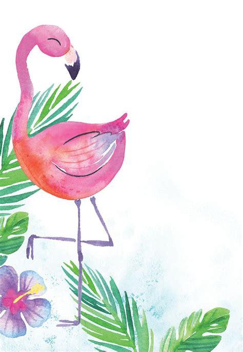 watercolor flamingo birthday invitation template