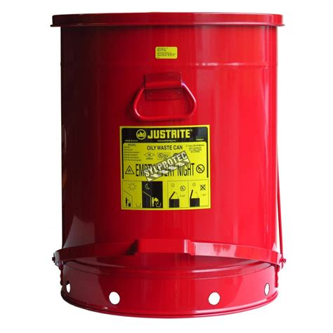gallon container  pedal  oily  solvent soaked