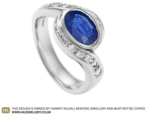 platinum engagement ring with 1 44ct blue sapphire and
