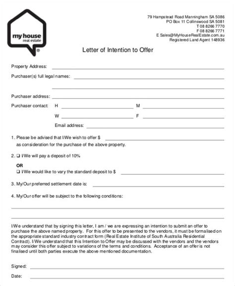 real estate offer template 8 real estate offer letter template 9 free word pdf format free premium templates
